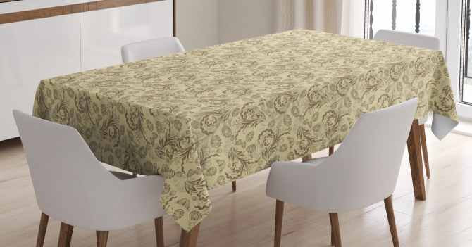 Silhouette Plants Leaf Tablecloth