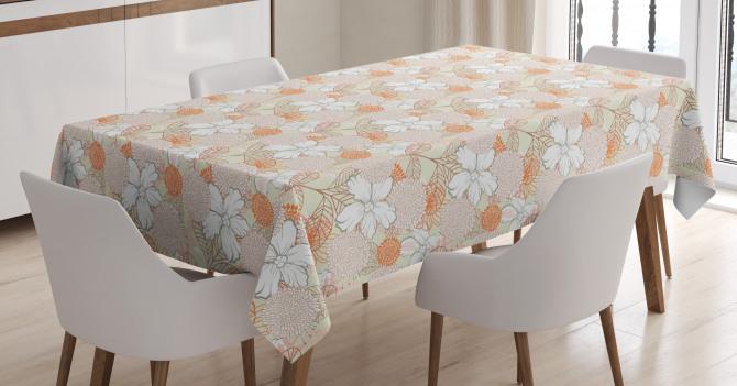Pastel Retro Botanical Tablecloth