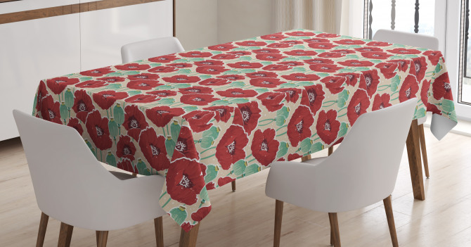 Watercolor Effect Poppy Tablecloth