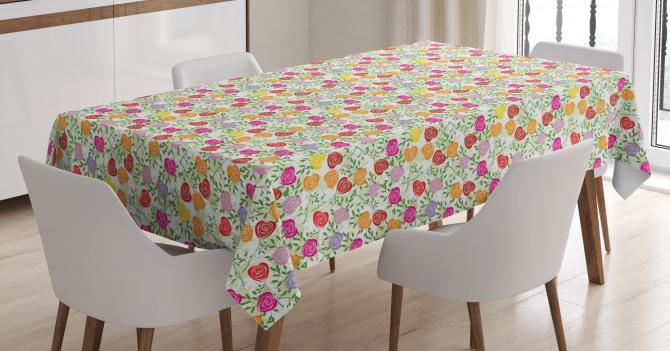 Heart Shape Rose Petals Tablecloth