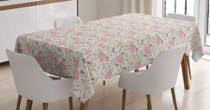Silhouette Rose Buds Tablecloth