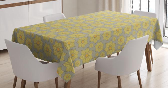 Doodle Yellow Petals Tablecloth