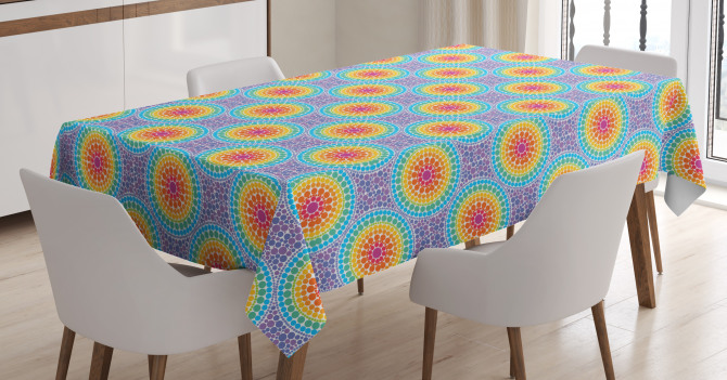 Rainbow Color Circles Tablecloth
