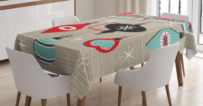 Retro Noel Slogan Tablecloth