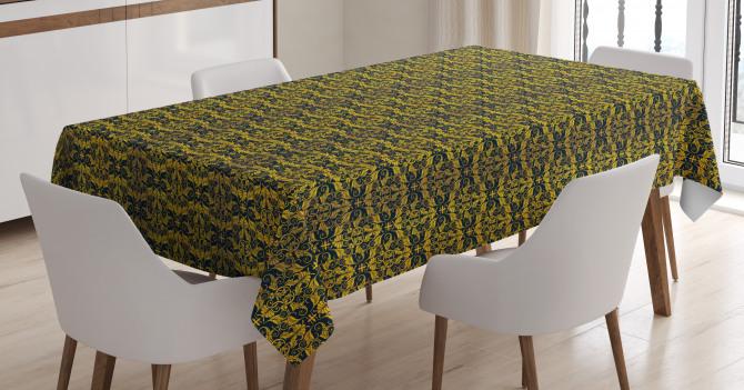 Wavy Floral Leaf Tablecloth