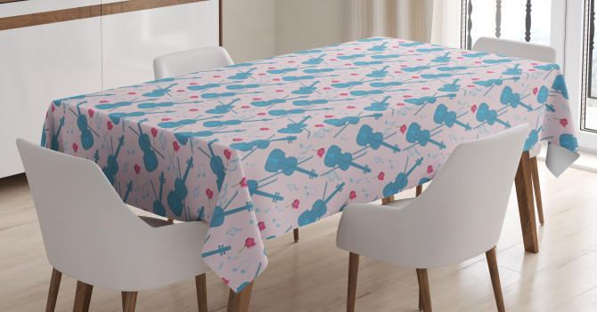 Violin with Notes Pattern Tablecloth