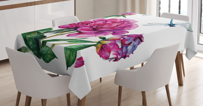 Peonies and Dragonflies Tablecloth