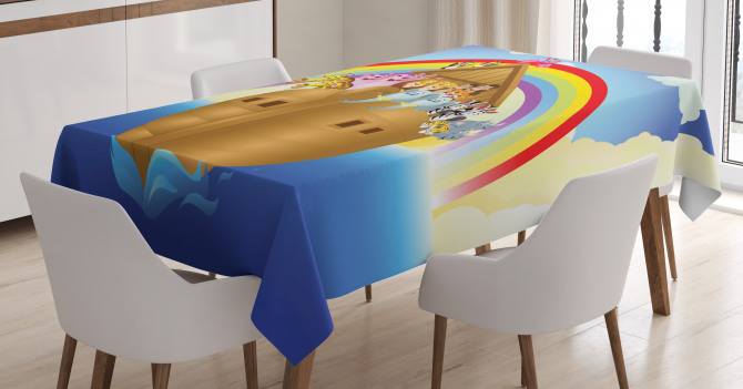 Clouds Animals Ship Tablecloth