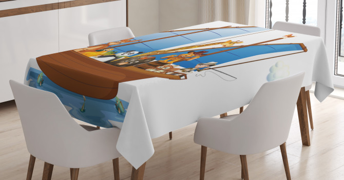 Animal Boat Sailing Tablecloth