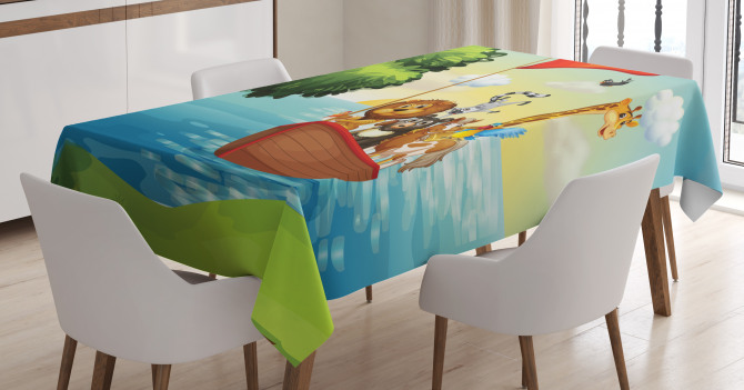 Animals Ark on Shore Tablecloth
