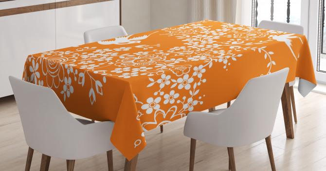 Flowers Birds Tablecloth