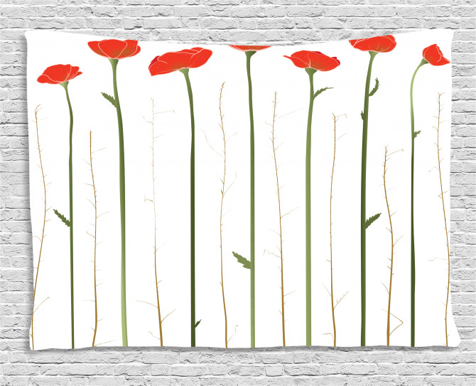 Red Poppies on Spring Wide Tapestry
