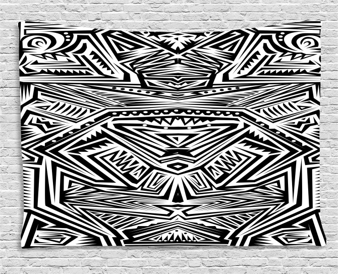 Abstract Ethnic Geometry Wide Tapestry