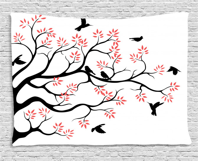 Mockingbird on Plane Tree Wide Tapestry