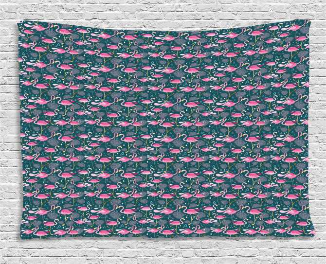 Exotic Pink Birds Flowers Wide Tapestry