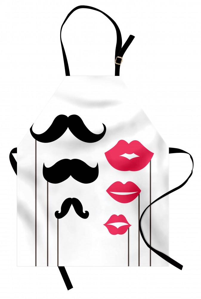 Mustache and Lips Motifs Apron