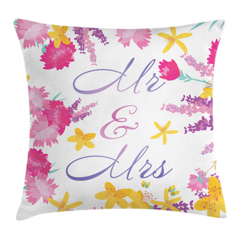 Colorful Wedding Flowers Throw Pillow Cushion Cover