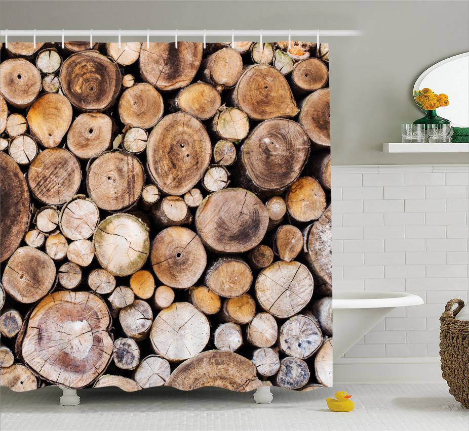 Holzscheite Eiche Duschvorhang