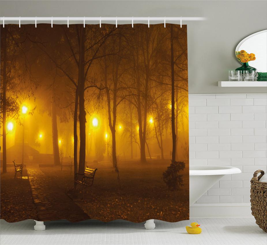 Nebeliger Abend im Park Duschvorhang