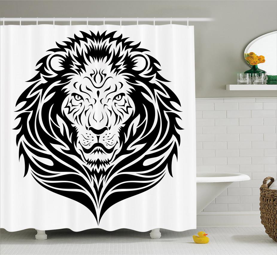 Löwe-Porträt Duschvorhang