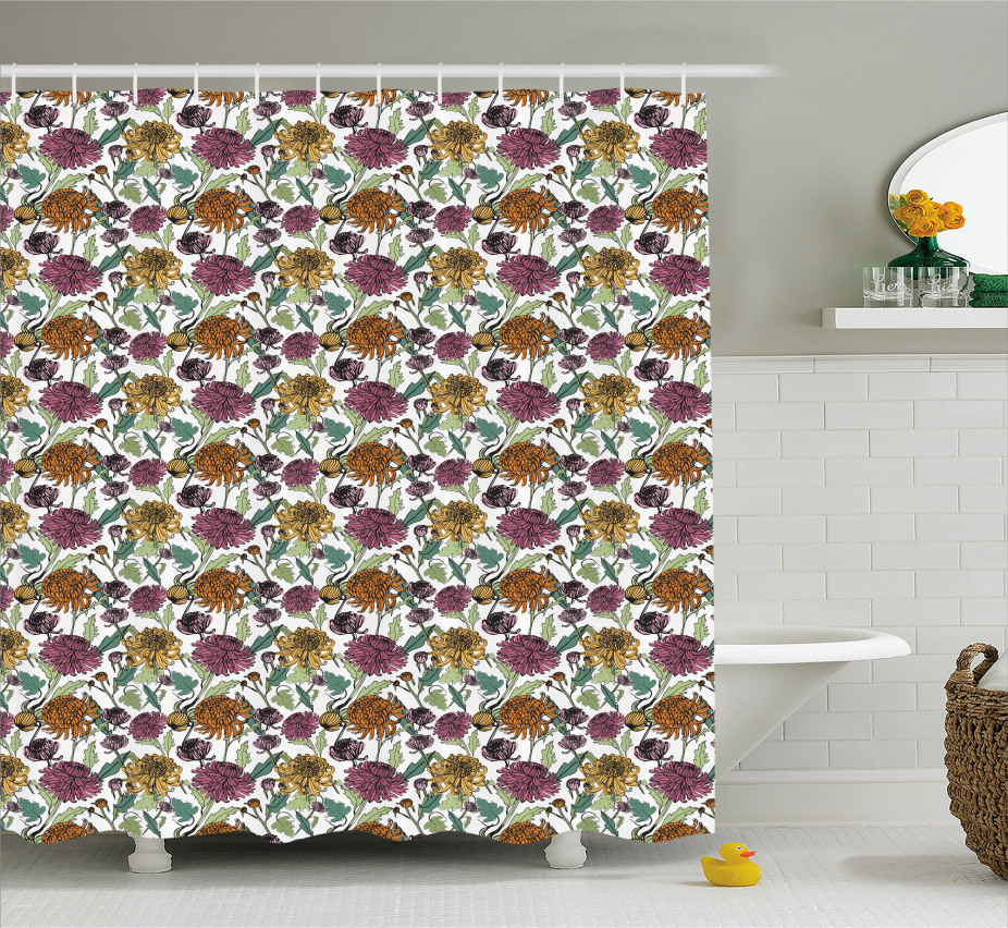 Bloomed Japanese Flower Shower Curtain