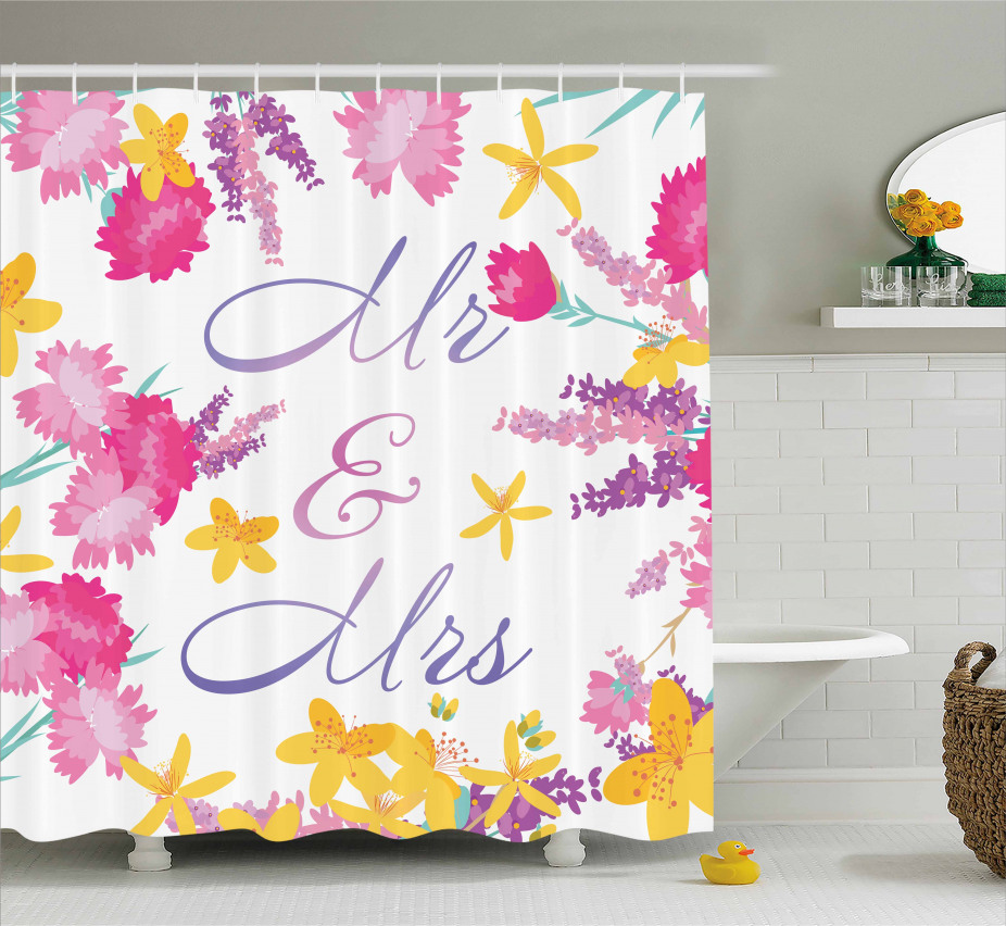 Colorful Wedding Flowers Shower Curtain