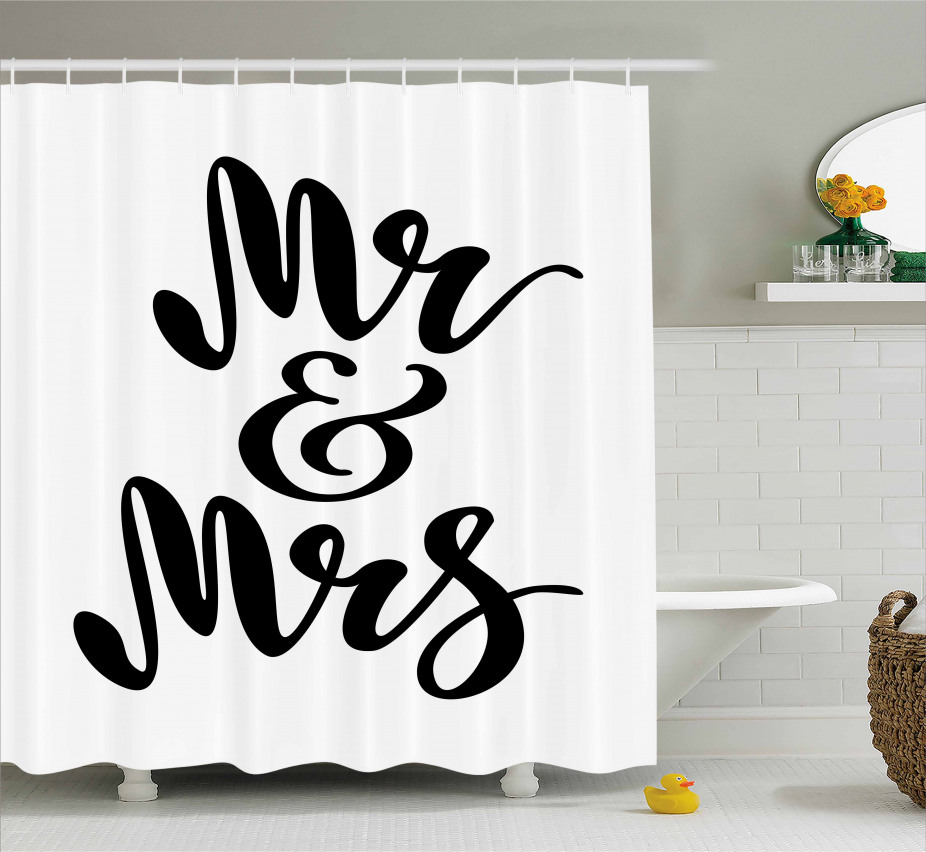 Hand Lettering Pattern Shower Curtain