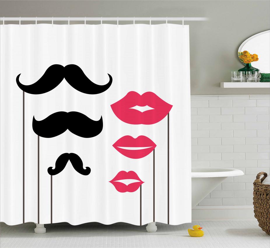 Mustache and Lips Motifs Shower Curtain