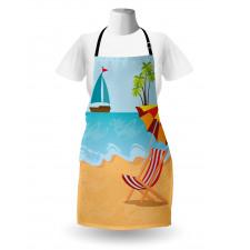 Ada Mutfak Önlüğü Denizdeki Tekne ve Plajdaki Şezlong ile Şemsiye