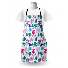 Bahar Mutfak Önlüğü Eğlenceli ve Sevimli Tropikal Çiçekler Çizimi