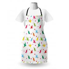 Bahar Mutfak Önlüğü Kalp ve Kuş Desenli
