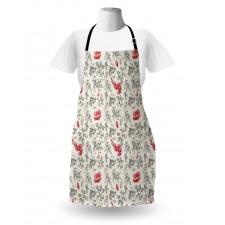 Bahar Mutfak Önlüğü Klasik Vintage Görünümlü Çiçek Yaprak Çizimi