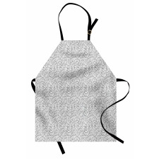 Bahar Mutfak Önlüğü Akromatik Soyut Sarmaşık Çiçek Dalları Deseni