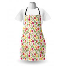 Bahar Mutfak Önlüğü Rengarenk Sevimli Kuşlar Kurbağalar Çiçekler