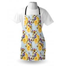 Bahar Mutfak Önlüğü Güllü ve Menekşeli Çiçek Aranjmanı Kelebek