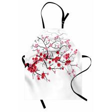 Bahar Mutfak Önlüğü Pembe Çiçekli Dallar