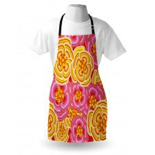 Bahar Mutfak Önlüğü Mor Sarı Çiçekler