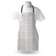 Bahar Mutfak Önlüğü Pastel Tarzda Çiçeklerden Tekrarlı Model