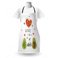 Avokado Mutfak Önlüğü Birbirlerine Aşık İki Sağlıklı Meyve Çift