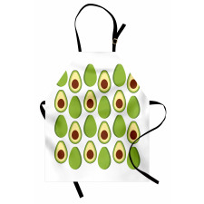 Avokado Mutfak Önlüğü Sağlıklı Meyvenin İçi ve Dışı Tekrarlı