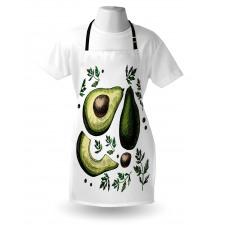 Avokado Mutfak Önlüğü Farklı Parçaları Gösterilen Sağlıklı Meyve