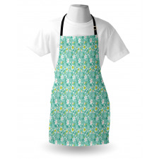 Bahar Mutfak Önlüğü Yapraklı Çiçekler ve Olgun Çilekler Desen