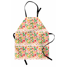 Bahar Mutfak Önlüğü Kelebek Yaprak ve Çiçeklerden Oluşan Desen