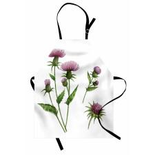 Bahar Mutfak Önlüğü Deve Dikeninin Sade İllüstrasyonu Çiçekler