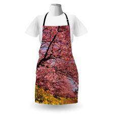 Bahar Mutfak Önlüğü Sakura Çiçeklerle Kaplı Dallar Fotoğrafı