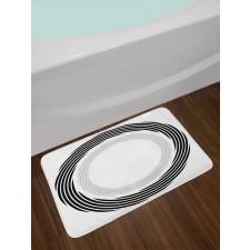 Abstract Art Theme White Bath Mat