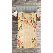 Leaves Roses Floral Bedspread Set
