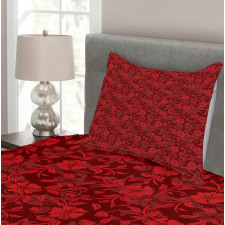 Flowers Leaves and Swirls Bedspread Set