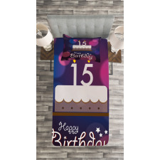 15 Birthday Cake Bedspread Set