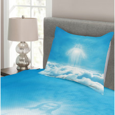 Above the Clouds Ancient Scene Bedspread Set